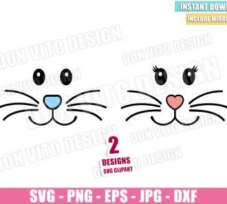 Boy Girl Bunny Face (SVG dxf png) Easter Eyes Heart Nose Cut File Cricut Silhouette Vector Clipart - Don Vito Design Store