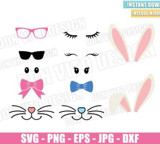 Easter Bunny Kit (SVG dxf png) Bundle Ears Eyes Sunglasses Bow Tie Cut File Cricut Silhouette Vector Clipart - Don Vito Design Store