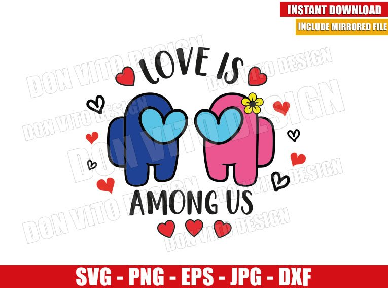 Love Couple Among Us (SVG dxf png) Game Valentine Heart Flower Cut File Cricut Silhouette Vector Clipart - Don Vito Design Store