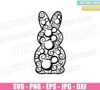 Bunny Mickey Head (SVG dxf png) Easter Rabbit Disney Mouse Cut File Cricut Silhouette Vector Clipart - Don Vito Design Store