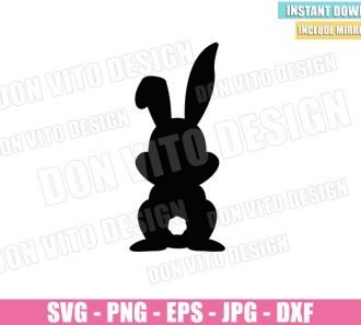 Easter Bunny Silhouette (SVG dxf png) Rabbit Tail Cut File Cricut Silhouette Vector Clipart - Don Vito Design Store