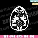 Easter Egg Disney Kiss (SVG dxf png) Mickey Minnie Mouse Flowers Cut File Cricut Silhouette Vector Clipart Design Happy Easter svg