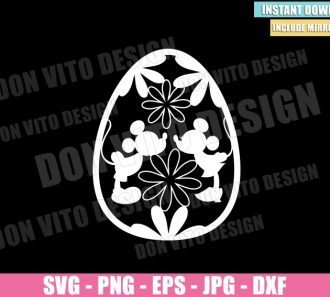 Easter Egg Disney Kiss (SVG dxf png) Mickey Minnie Mouse Flowers Cut File Cricut Silhouette Vector Clipart - Don Vito Design Store