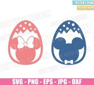 Eggs Mickey Minnie Mouse (SVG dxf png) Easter Disney Ornament Cut File Cricut Silhouette Vector Clipart Design - Don Vito Design Store