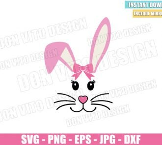 Easter Bunny Pink Bow (SVG dxf png) Girl Rabbit Ears Cut File Cricut Silhouette Vector Clipart - Don Vito Design Store