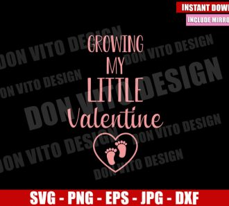 Growing my Little Valentine (SVG dxf png) Baby Foot Heart Cut File Cricut Silhouette Vector Clipart - Don Vito Design Store
