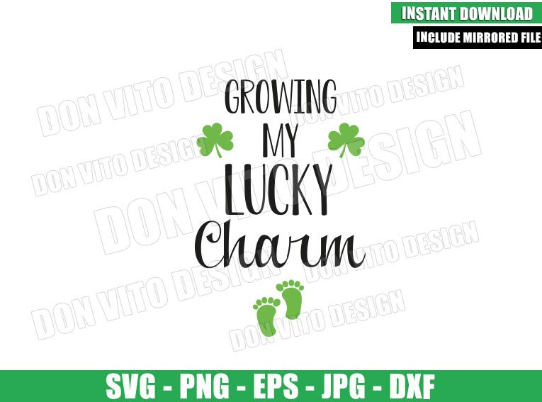 Growing My Lucky Charm (SVG dxf png) Baby Foot Clover Cut File Cricut Silhouette Vector Clipart - Don Vito Design Store