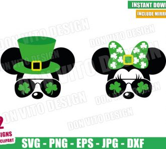 Irish Mickey Minnie Sunglasses (SVG dxf png) Disney Lucky Clover Hat Bow Cut File Cricut Silhouette Vector Clipart - Don Vito Design Store