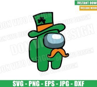 Irish Mustache Among Us (SVG dxf png) Game St Patricks Day Hat Cut File Cricut Silhouette Vector Clipart - Don Vito Design Store