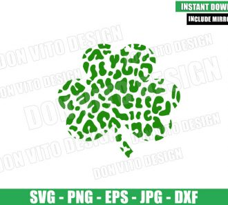 Leopard Shamrock (SVG dxf png) St Patty Clover Cut File Cricut Silhouette Vector Clipart - Don Vito Design Store