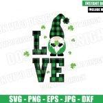Irish Gnomes Love (SVG dxf png) Shamrock Buffalo Plaid Cut File Cricut Silhouette Vector Clipart Design St Patricks Day svg