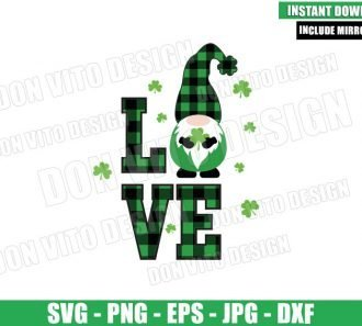 Irish Gnomes Love (SVG dxf png) Shamrock Buffalo Plaid Cut File Cricut Silhouette Vector Clipart - Don Vito Design Store