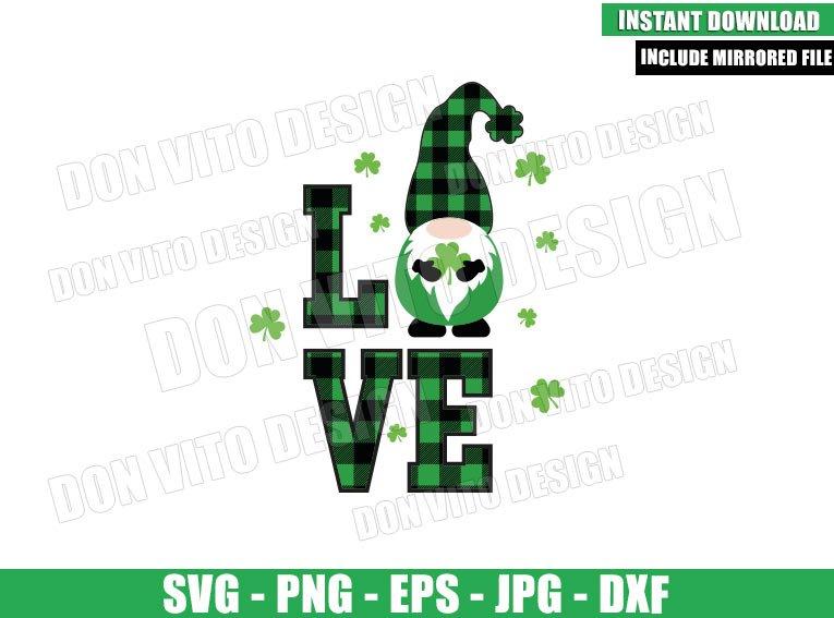 Irish Gnomes Love (SVG dxf png) Shamrock Buffalo Plaid Cut File Cricut Silhouette Vector Clipart - Don Vito Design Store