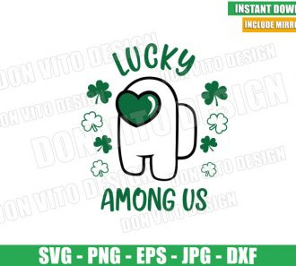 Love Among Us Lucky (SVG dxf png) St Patrick Day Shamrock Cut File Cricut Silhouette Vector Clipart - Don Vito Design Store