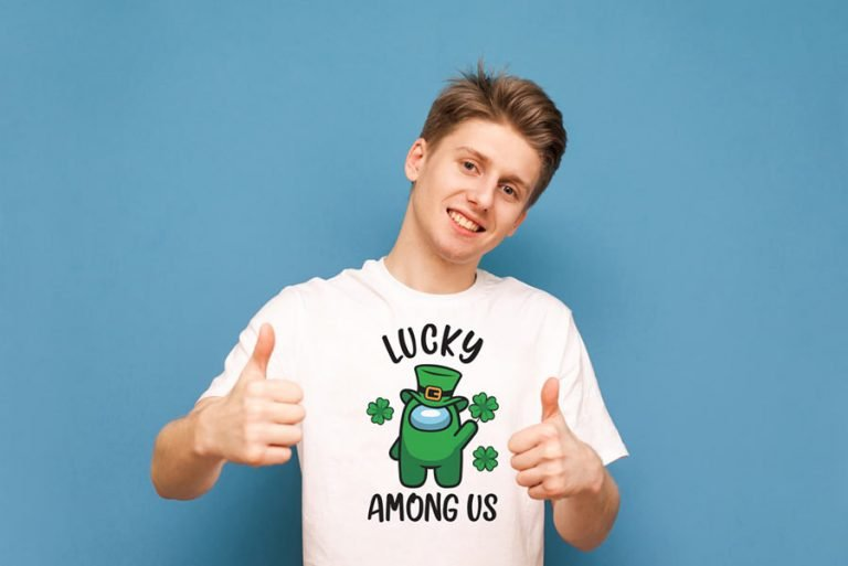 T-Shirt-Design - Lucky Among Us (SVG dxf png) St Patrick Day Impostor Clover Cut File Cricut Silhouette Vector Clipart