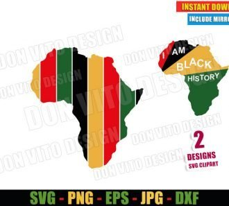 Map of Africa Colors (SVG dxf png) I am Black History Cut File Cricut Silhouette Vector Clipart - Don Vito Design Store