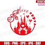 Mickey Minnie Castle of Love (SVG dxf png) Disney Mouse Kiss Cut File Cricut Silhouette Vector Clipart Design Valentines Day svg