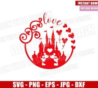 Mickey Minnie Castle of Love (SVG dxf png) Disney Mouse Kiss Cut File Cricut Silhouette Vector Clipart - Don Vito Design Store