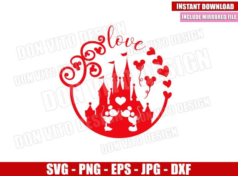 Mickey Minnie Castle of Love (SVG dxf png) Disney Mouse Kiss Cut File Cricut Silhouette Vector Clipart - Don Vito Design Store