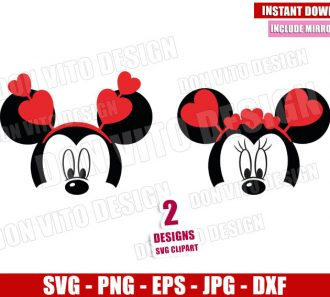 Mickey Minnie Hearts Bandana (SVG dxf png) Disney Head Mouse Cut File Cricut Silhouette Vector Clipart - Don Vito Design Store
