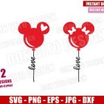 Mickey Minnie Love Balloons (SVG dxf png) Disney Mouse Ears Cut File Cricut Silhouette Vector Clipart Design Valentines Day svg
