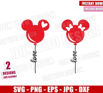 Mickey Minnie Love Balloons (SVG dxf png) Disney Mouse Ears Cut File Cricut Silhouette Vector Clipart - Don Vito Design Store