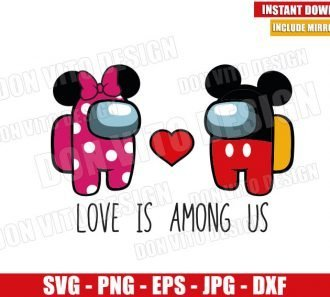 Love Mickey Minnie Among Us (SVG dxf png) Game Valentines Day Cut File Cricut Silhouette Vector Clipart - Don Vito Design Store