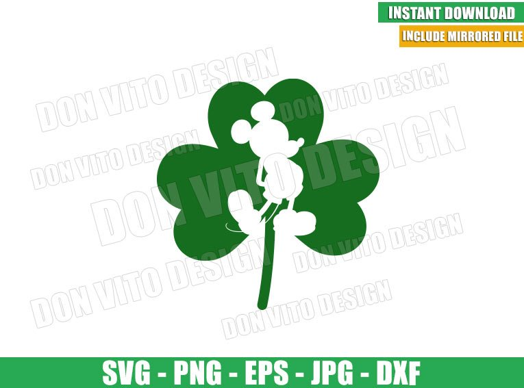 Mickey Mouse Shamrock (SVG dxf png) Disney Irish Lucky Clover Cut File Cricut Silhouette Vector Clipart - Don Vito Design Store