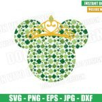 Minnie Mouse Clover Princess (SVG dxf png) Disney Head Irish Crown Cut File Cricut Silhouette Vector Clipart Design St Patrick Day svg