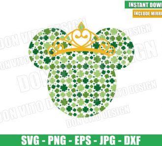 Minnie Mouse Clover Princess (SVG dxf png) Disney Head Irish Crown Cut File Cricut Silhouette Vector Clipart - Don Vito Design Store