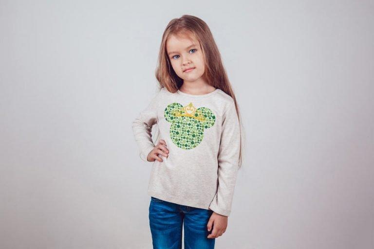 T-Shirt Design - Minnie Mouse Clover Princess (SVG dxf png) Disney Head Irish Crown Cut File Cricut Silhouette Vector Clipart