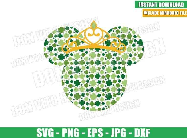Minnie Mouse Clover Princess (SVG dxf png) Disney Head Irish Crown Cut File Cricut Silhouette Vector Clipart - Don Vito Design Store