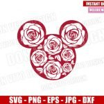 Minnie Mouse Roses Head (SVG dxf png) Disney Floral Ears Cut File Cricut Silhouette Vector Clipart Design Valentines Day svg