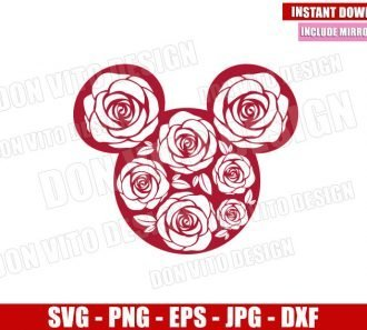 Minnie Mouse Roses Head (SVG dxf png) Disney Floral Ears Cut File Cricut Silhouette Vector Clipart - Don Vito Design Store