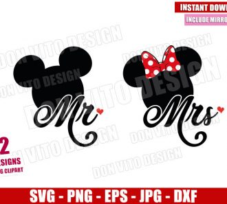Mr Mickey and Mrs Minnie (SVG dxf png) Disney Mouse Love Cut File Cricut Silhouette Vector Clipart - Don Vito Design Store