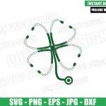 Nurse St Patricks Day Clover (SVG dxf png) Stethoscope Shamrock Cut File Cricut Silhouette Vector Clipart Design St Patty svg