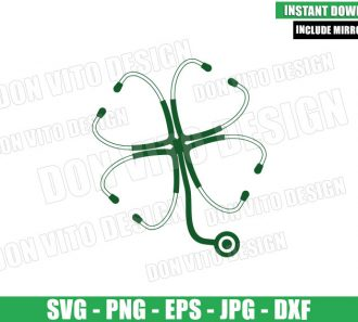 Nurse St Patricks Day Clover (SVG dxf png) Stethoscope Shamrock Cut File Cricut Silhouette Vector Clipart - Don Vito Design Store