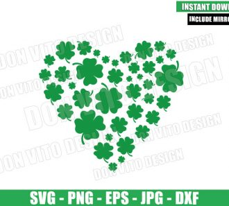 Shamrock Heart (SVG dxf png) St Patty Lucky Clover Irish Cut File Cricut Silhouette Vector Clipart - Don Vito Design Store