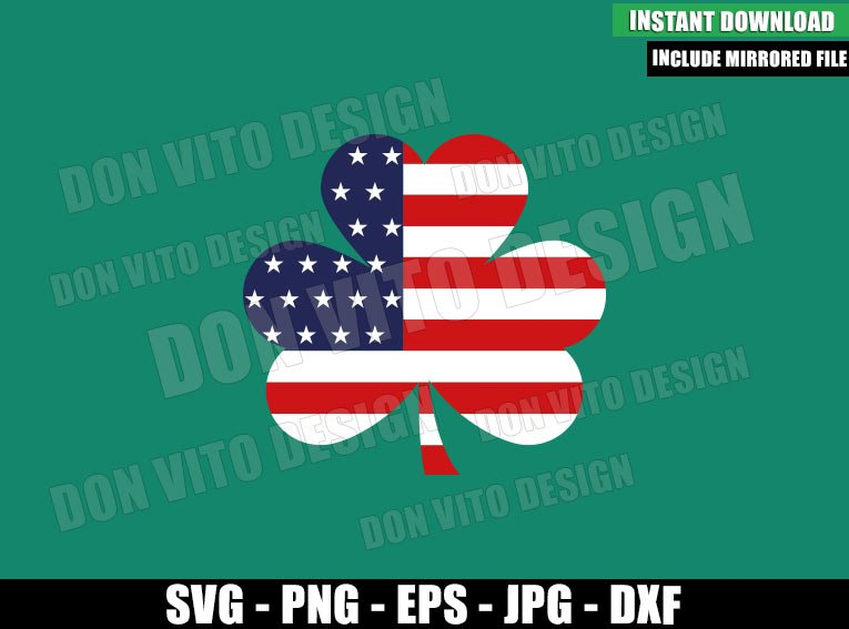 Shamrock USA Flag (SVG dxf png) Lucky United States Cut File Cricut Silhouette Vector Clipart - Don Vito Design Store