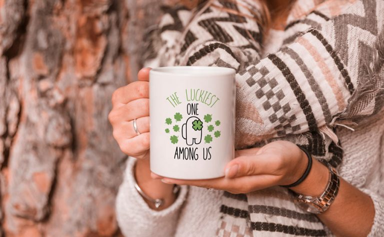 Mug Design - The Luckiest one Among Us (SVG dxf png) St Patrick Day Clover Cut File Cricut Silhouette Vector Clipart