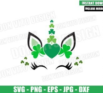 Unicorn Irish Shamrock (SVG dxf png) Lucky Face Heart Clover Cut File Cricut Silhouette Vector Clipart - Don Vito Design Store