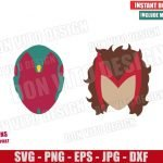 Vision and Wanda Heads (SVG dxf png) Scarlet Witch Marvel Logo Cut File Cricut Silhouette Vector Clipart 2 Designs WandaVision svg