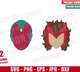 Vision and Wanda Heads (SVG dxf png) Scarlet Witch Marvel Logo Cut File Cricut Silhouette Vector Clipart - Don Vito Design Store