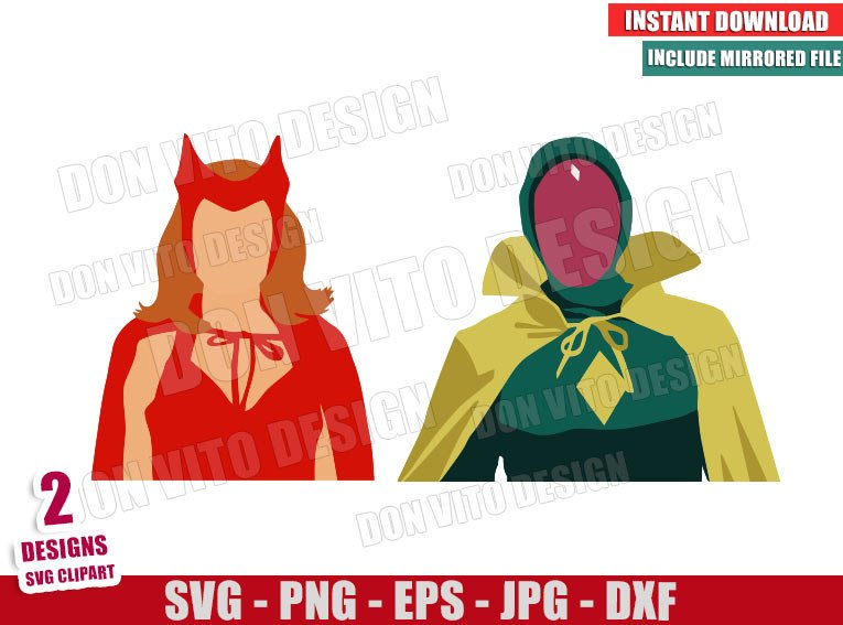 Vision Wanda Costume (SVG dxf png) Halloween Scarlet Witch Marvel Cut File Cricut Silhouette Vector Clipart - Don Vito Design Store