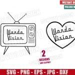 Wanda Vision TV Heart (SVG dxf png) Marvel Love Outline Logo Cut File Cricut Silhouette Vector Clipart 2 Designs WandaVision svg