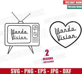 Wanda Vision TV Heart (SVG dxf png) Marvel Love Outline Cut File Cricut Silhouette Vector Clipart