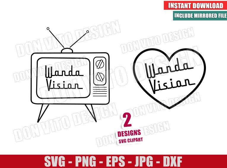 Wanda Vision TV Heart (SVG dxf png) Marvel Love Outline Cut File Cricut Silhouette Vector Clipart