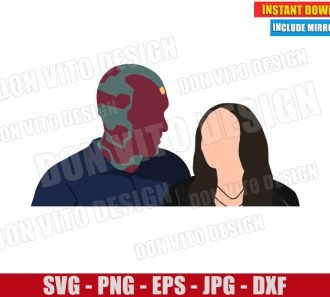 Wanda and Vision (SVG dxf png) Marvel Couple Wanda Maximoff Cut File Cricut Silhouette Vector Clipart - Don Vito Design Store