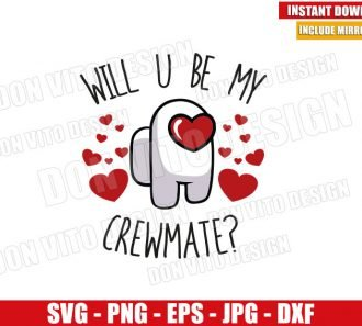 Will You Be My Crewmate (SVG dxf png) Game Imposter Valentine Day Cut File Cricut Silhouette Vector Clipart - Don Vito Design Store