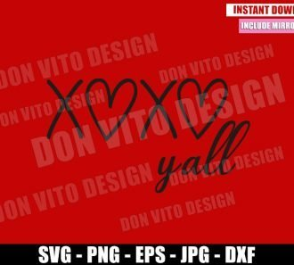 XOXO Yall (SVG dxf png) Love Xoxo Valentine Cut File Cricut Silhouette Vector Clipart - Don Vito Design Store
